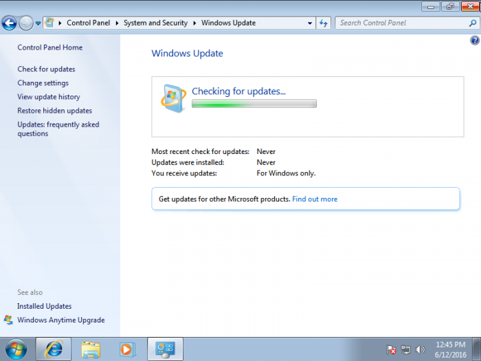 Windows 7 Update Never Stops Checking for Updates