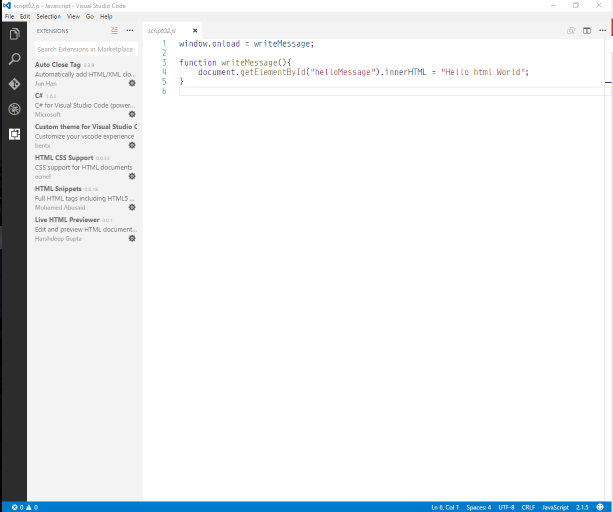 Visual Studio Code Window